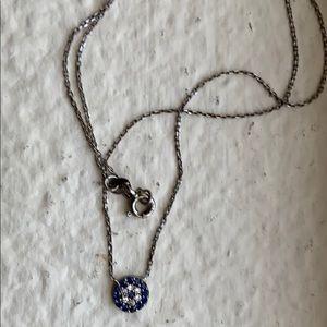 SOLD! Silver Turkish evil eye pendant necklace.